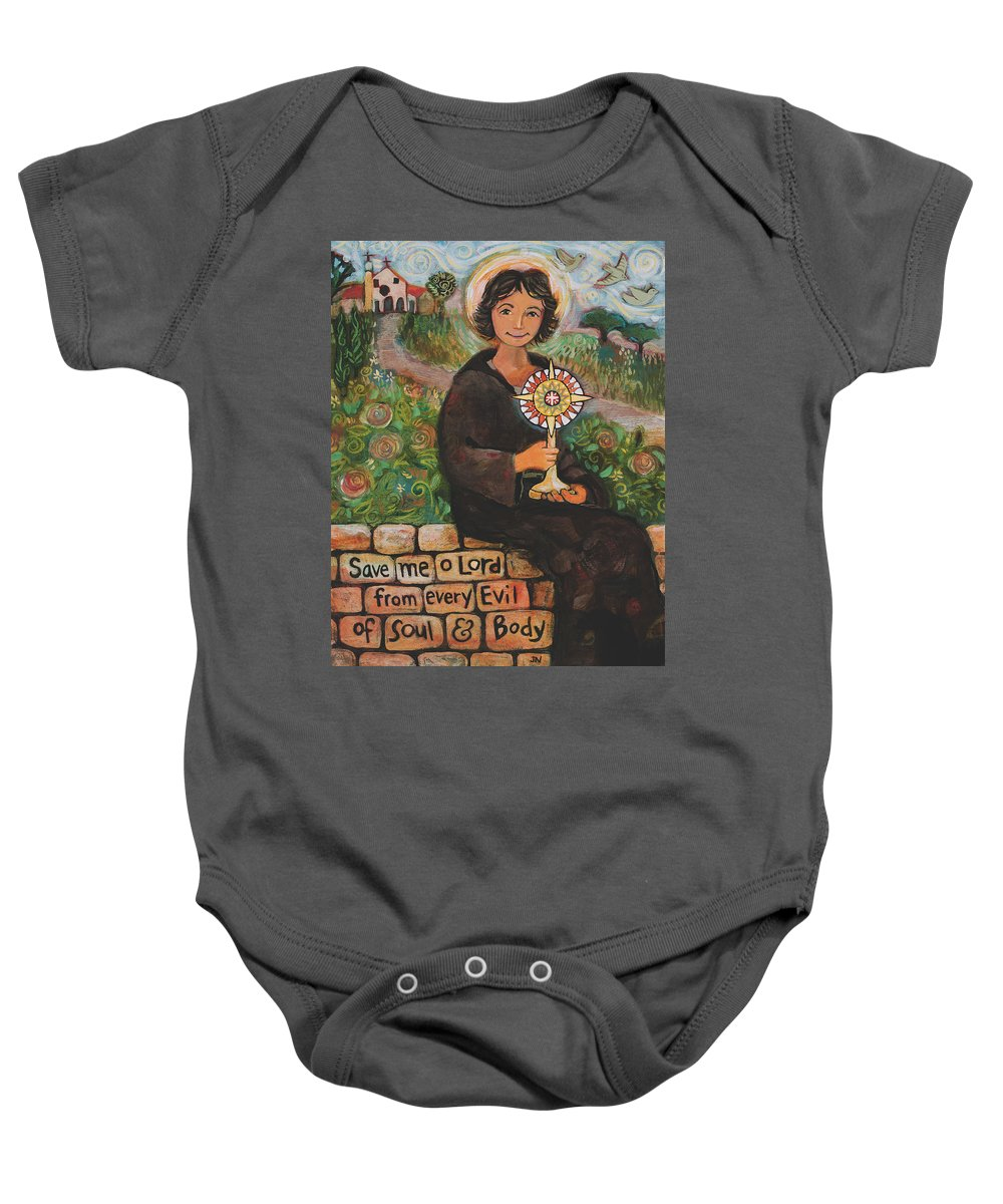 Jen Norton Baby Onesie featuring the painting St. Clare Of Assisi by Jen Norton
