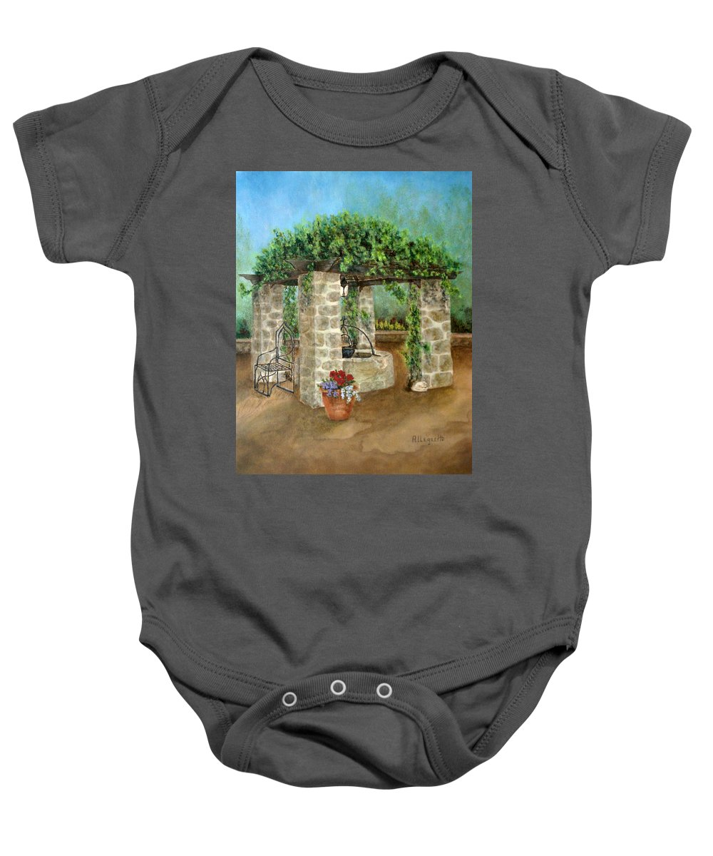 Pamela Allegretto Franz Baby Onesie featuring the painting St. Clement's Castle by Pamela Allegretto
