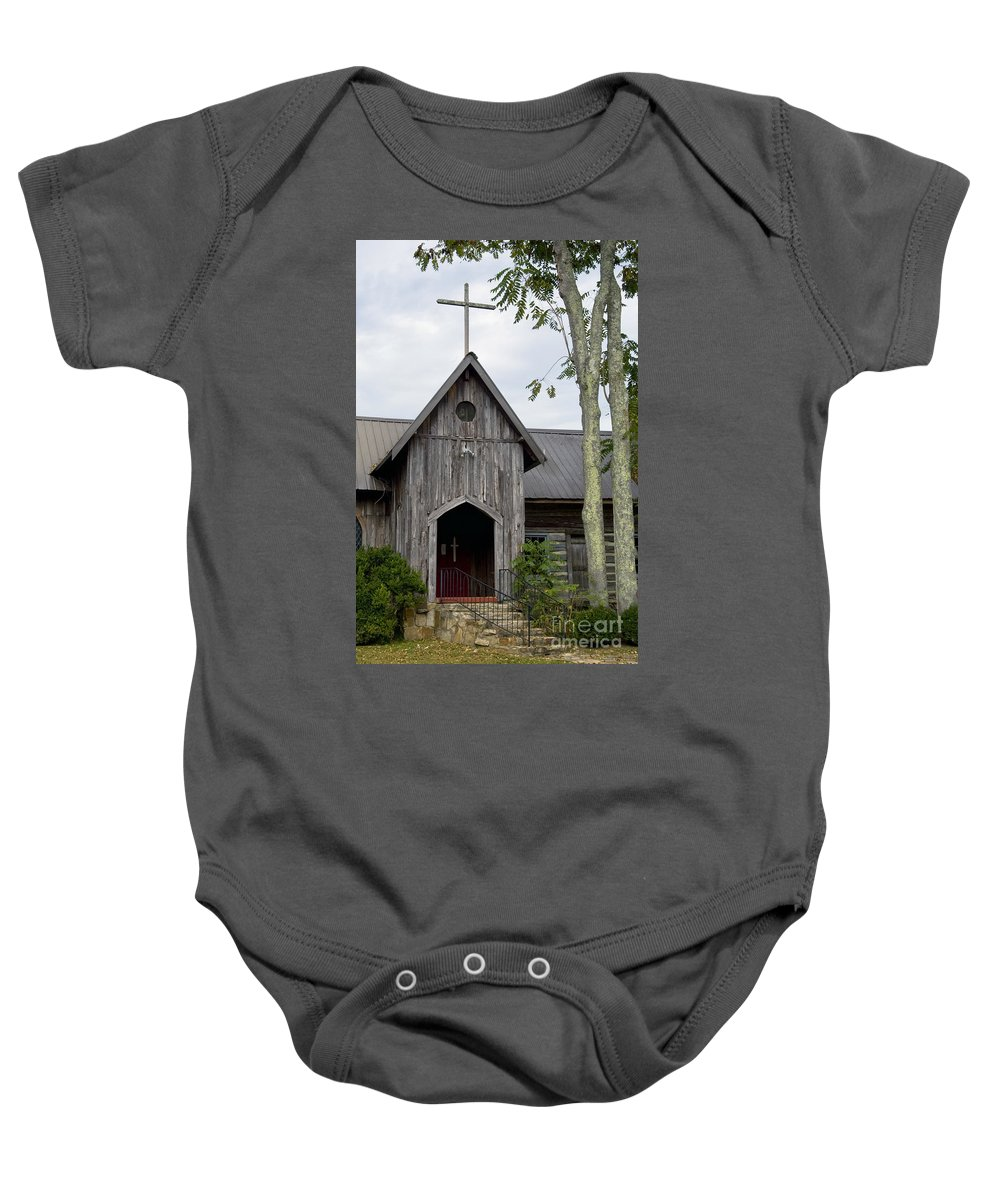 St. Joseph's-on-the-mount Episcopal Church Mentone Alabama Wooden Churches Cross Crosses Building Buildings Structure Structures Place Places Of Worship Early American Architecture Door Doors Baby Onesie featuring the photograph St. Joseph's-on-the-mount Episcopal Church  by Bob Phillips