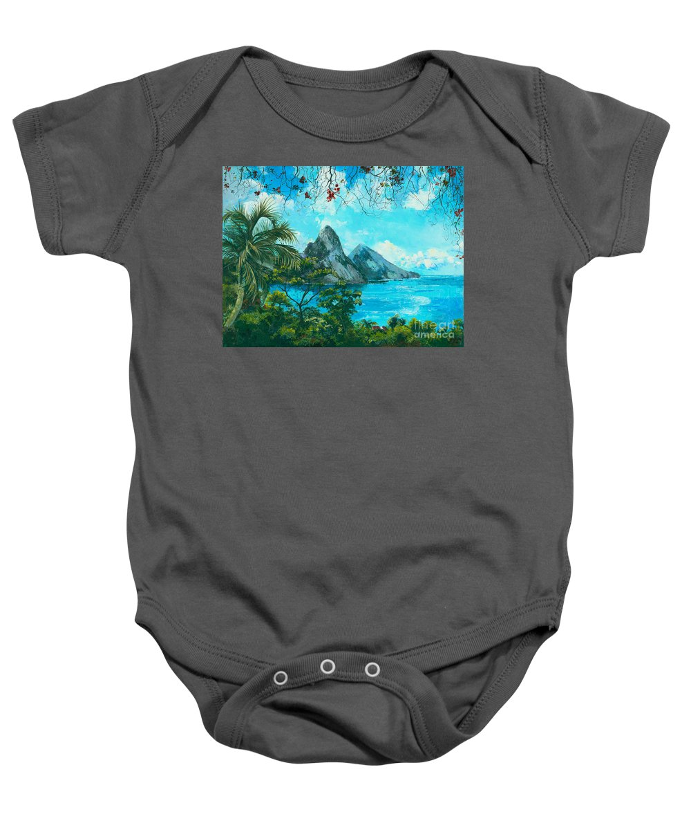Mountains Baby Onesie featuring the painting St. Lucia - W. Indies by Elisabeta Hermann