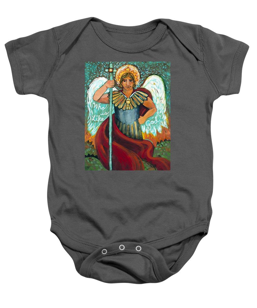 Jen Norton Baby Onesie featuring the painting St. Michael The Archangel by Jen Norton