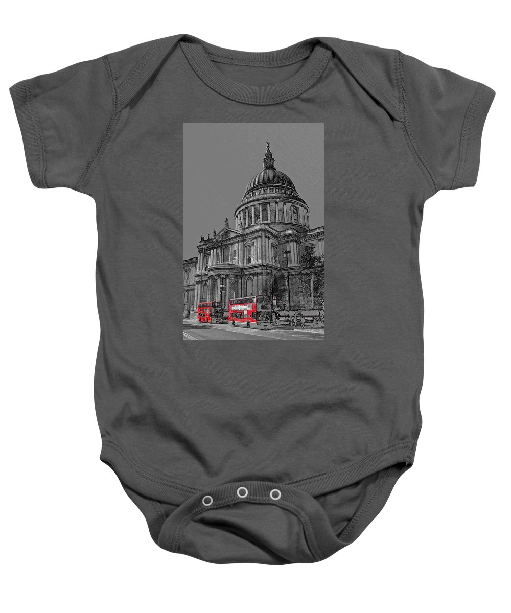 St Pauls Baby Onesie featuring the digital art St Paul's Cathedral London Art by David Pyatt