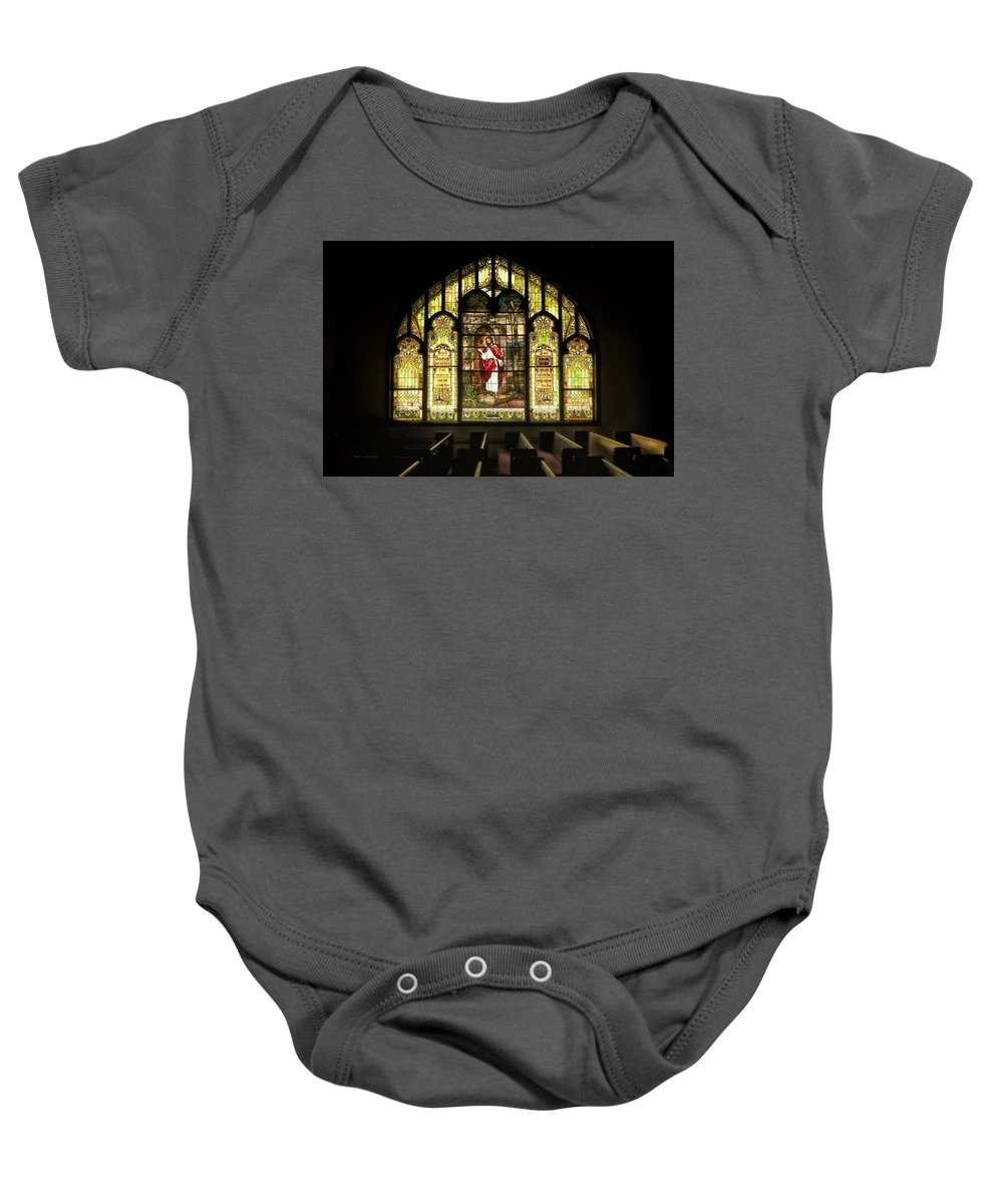 Homeless Baby Onesie featuring the photograph Stain Glass Behold I Stand At The Door And Knock by Thomas Woolworth