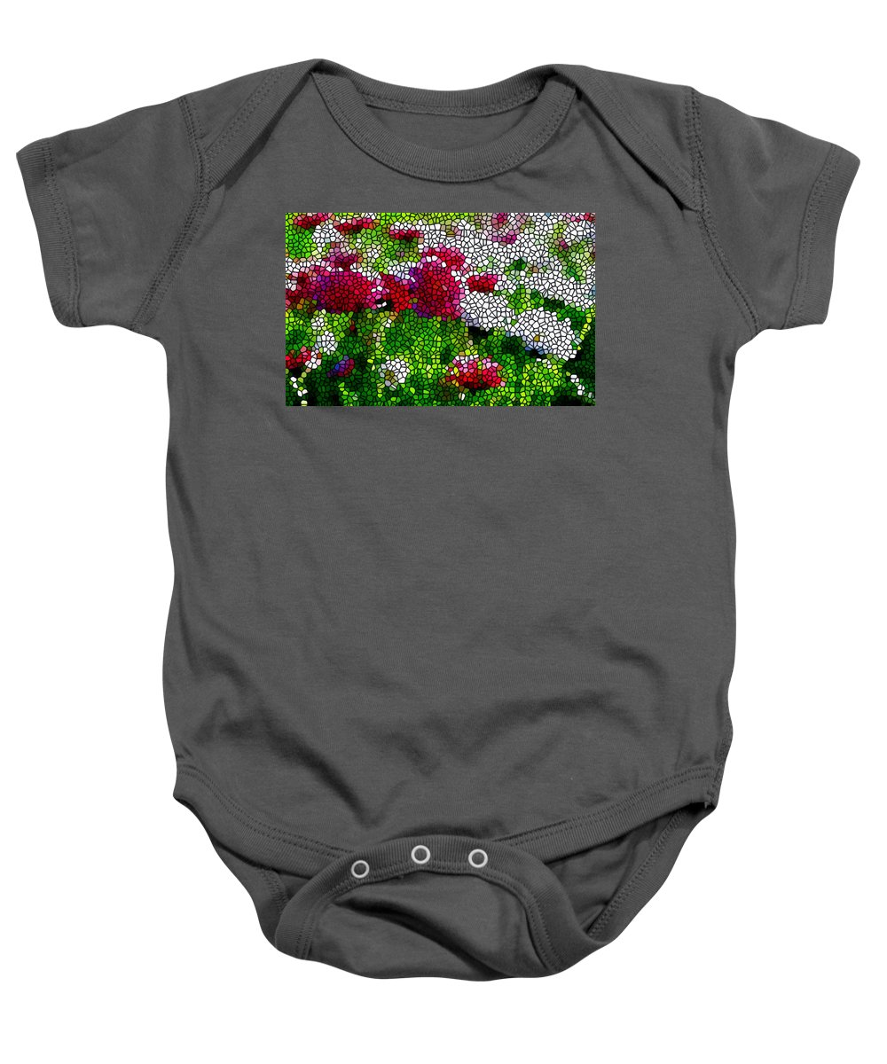 Stained Glass Chrysanthemum Flowers Baby Onesie featuring the painting Stained Glass Chrysanthemum Flowers by Jeelan Clark