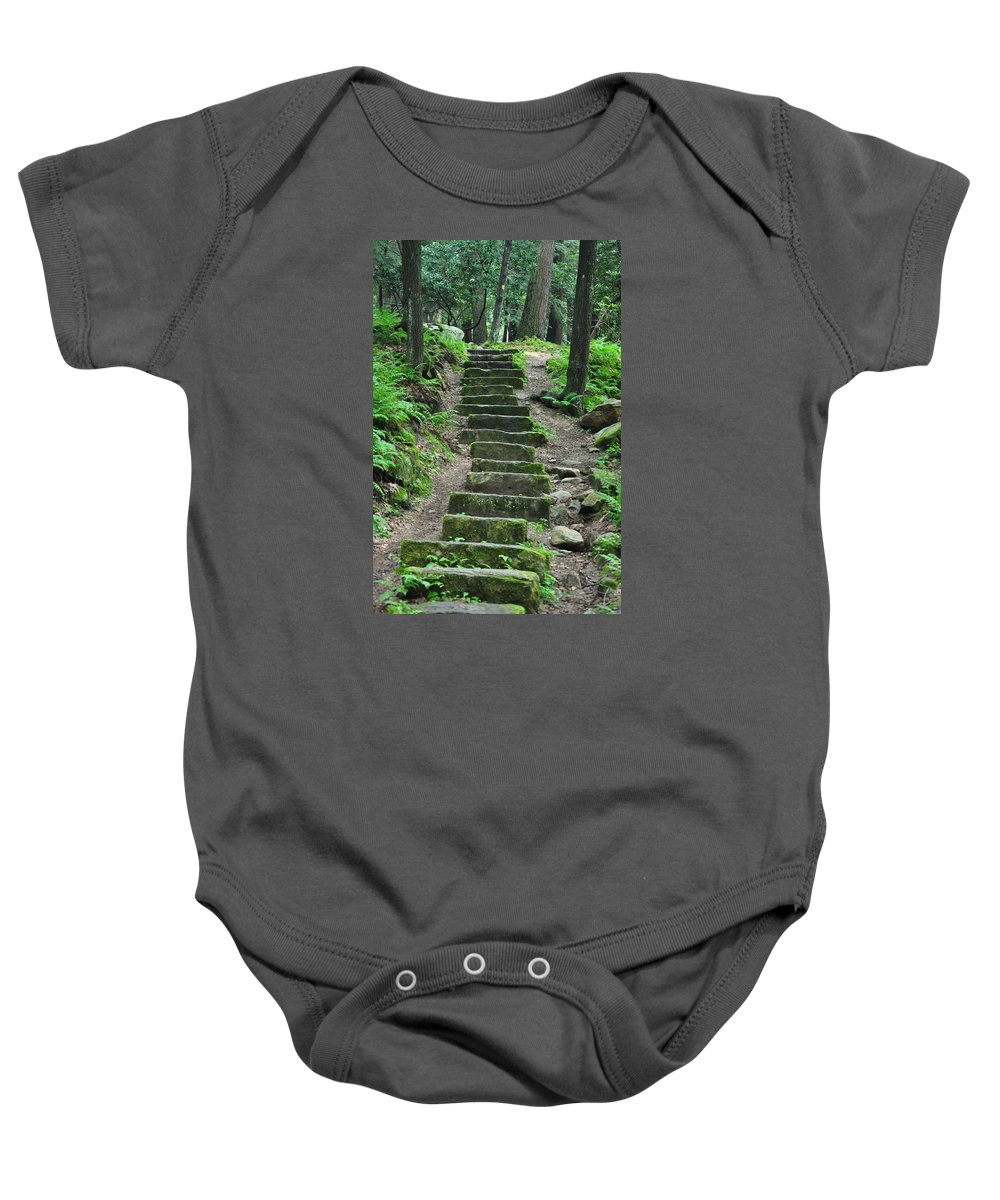 Stairway Baby Onesie featuring the photograph Stairway To Heaven by Rebecca Jayne