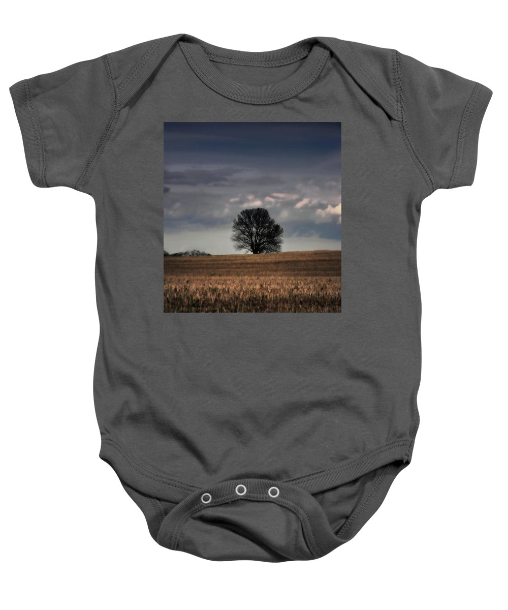Tress Baby Onesie featuring the photograph Stand Alone by Kristie Bonnewell