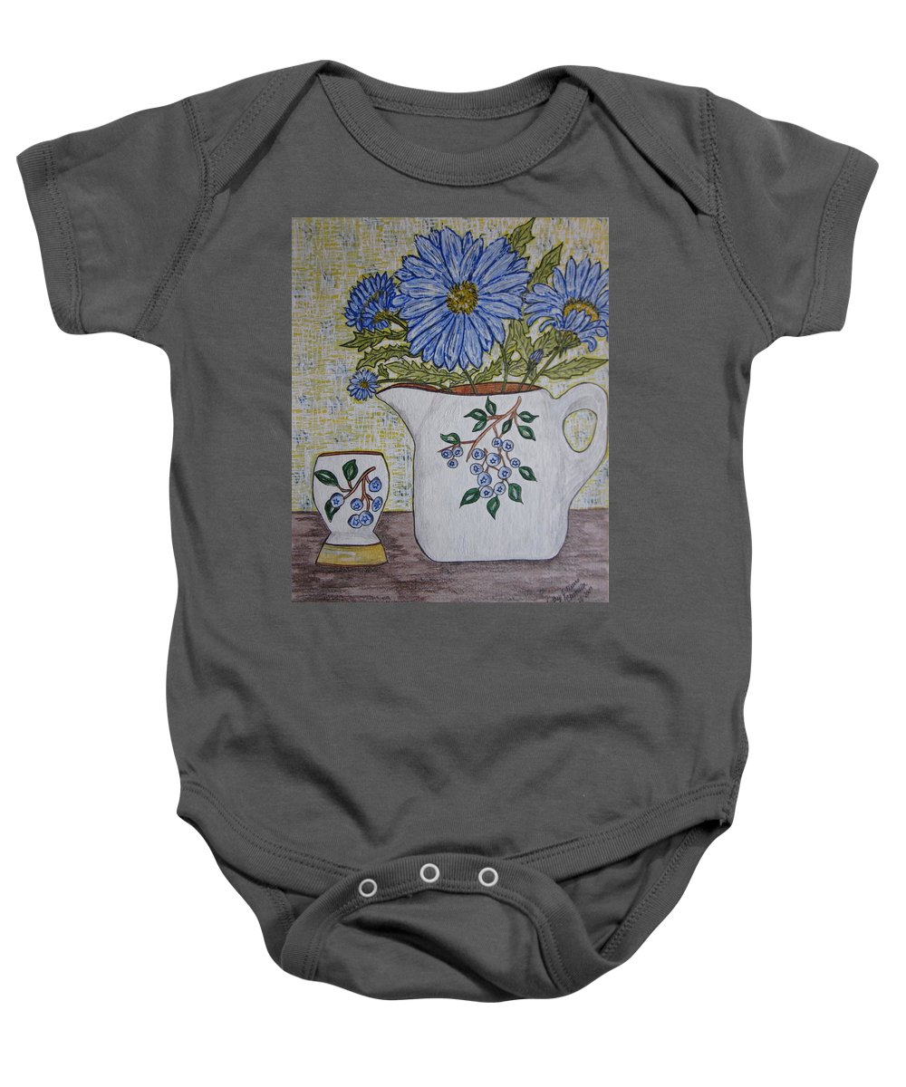 Stangl Blueberry Pottery Baby Onesie featuring the painting Stangl Blueberry Pottery by Kathy Marrs Chandler