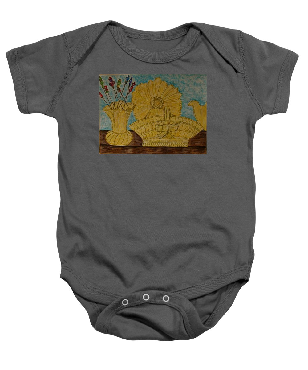 Stangl Pottery Baby Onesie featuring the painting Stangl Pottery Satin Yellow Pattern And Vintage Hat Pins by Kathy Marrs Chandler