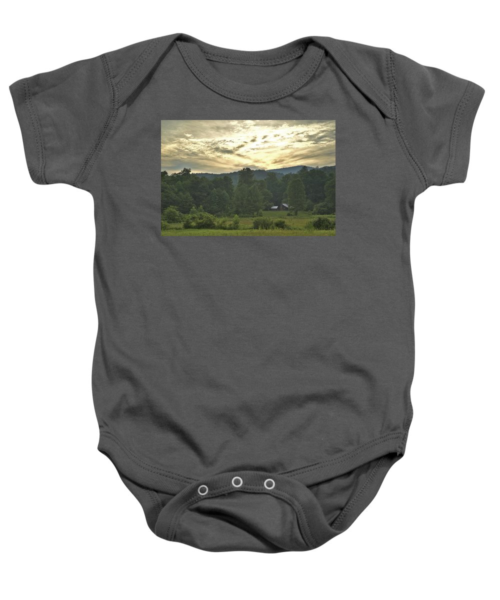 Stanly Cabin Baby Onesie featuring the photograph Stanley Cabin 2 by Mike McGowan