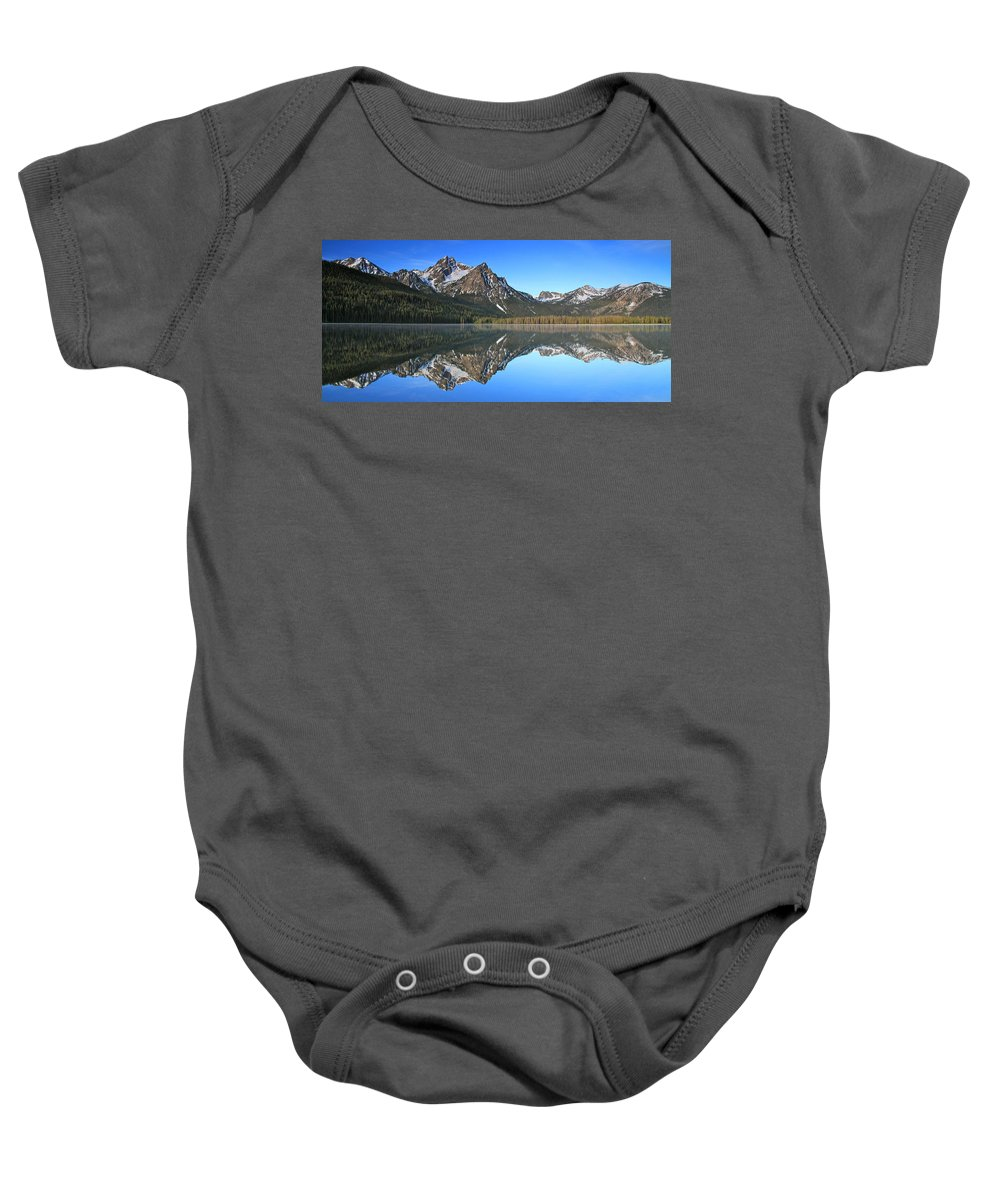 Mountains Baby Onesie featuring the photograph Stanley Lake Sawtooth Mountains by Ed Riche