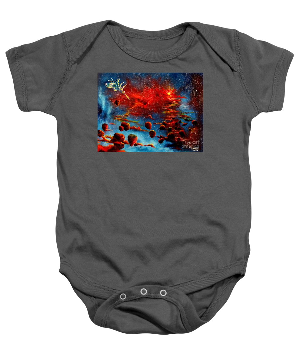 Nova Baby Onesie featuring the painting Starberry Nova Alien Excape by Murphy Elliott