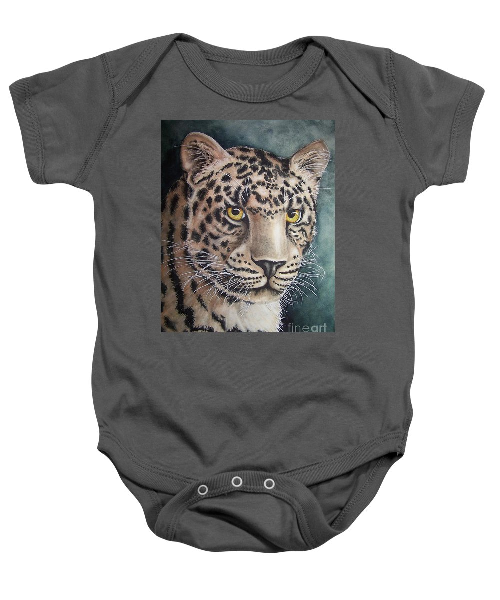 Wildlife Baby Onesie featuring the painting Stare Down by Conni Reinecke