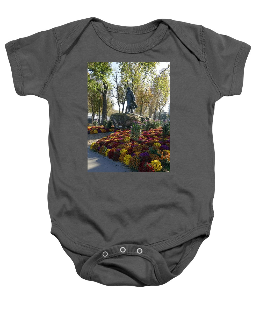 Paris Baby Onesie featuring the photograph Statue And Flower Bed Across The Street From The Grand Palais Off Of Champs Elysees by Richard Rosenshein