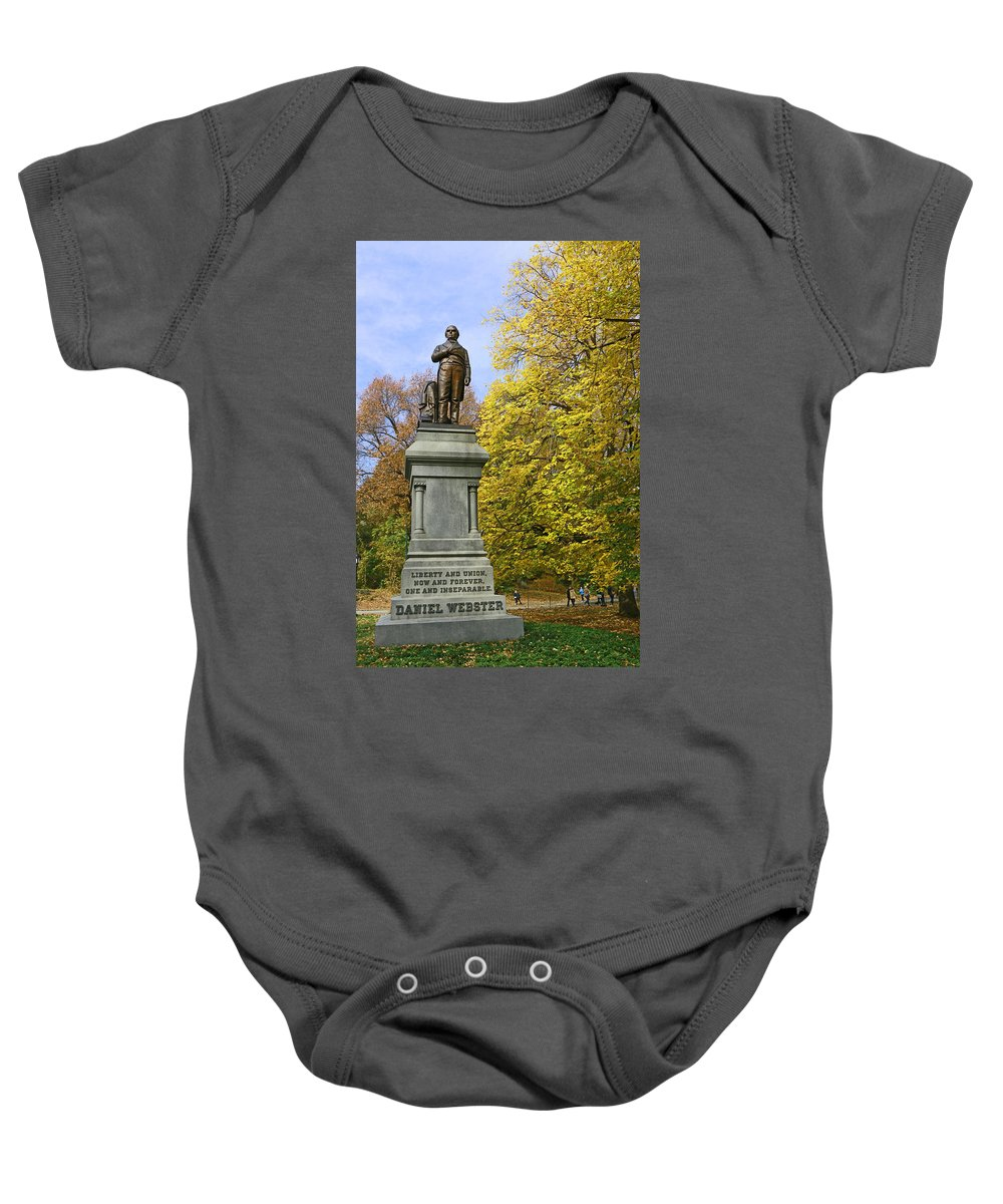 Statue Baby Onesie featuring the photograph Statue Of Daniel Webster - Central Park by Allen Beatty