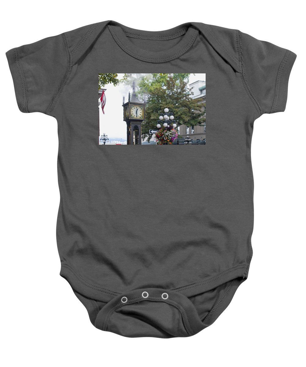 Steam Baby Onesie featuring the photograph Steam Clock At Gastown In Vancouver Bc by Jit Lim