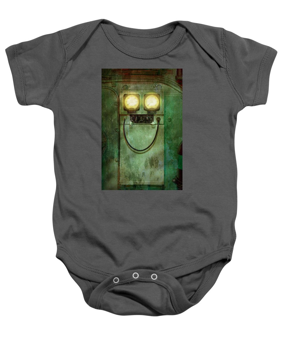 Steampunk Baby Onesie featuring the photograph Steampunk - Be Happy by Mike Savad