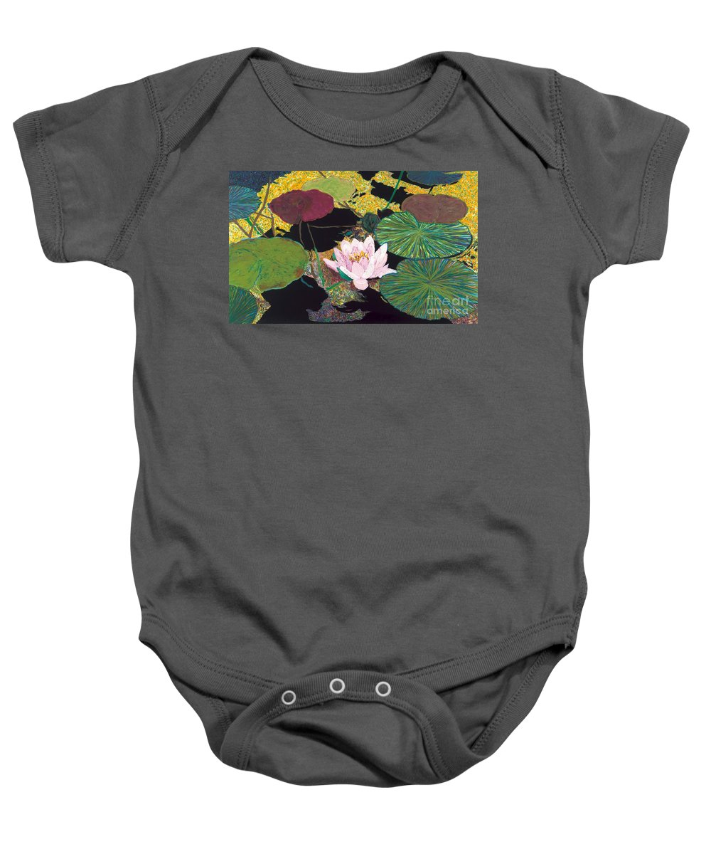 Landscape Baby Onesie featuring the painting Steamy Pond by Allan P Friedlander