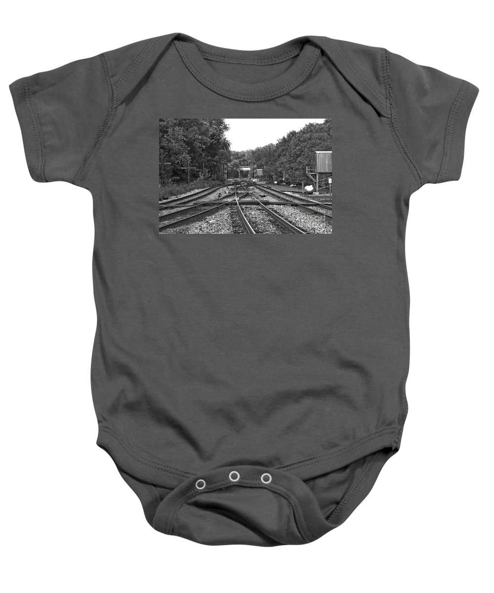 Railroad Baby Onesie featuring the photograph Steel Rail Intersections.  Point Of Rocks Md by Thomas Marchessault