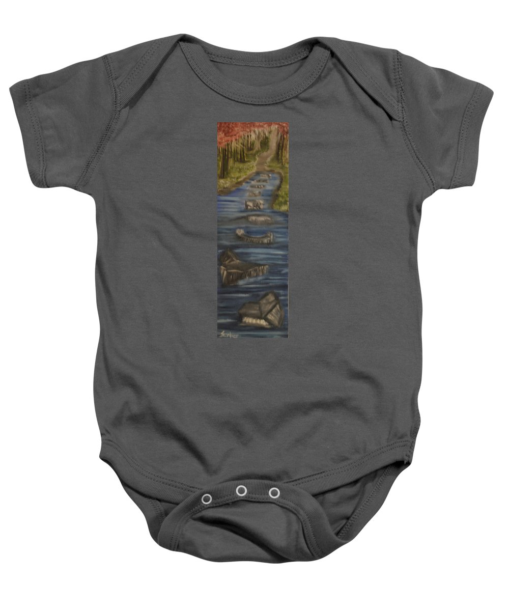 Rocks And Flowerspink Flowers Baby Onesie featuring the painting Steps Of Faith by Suzanne Surber