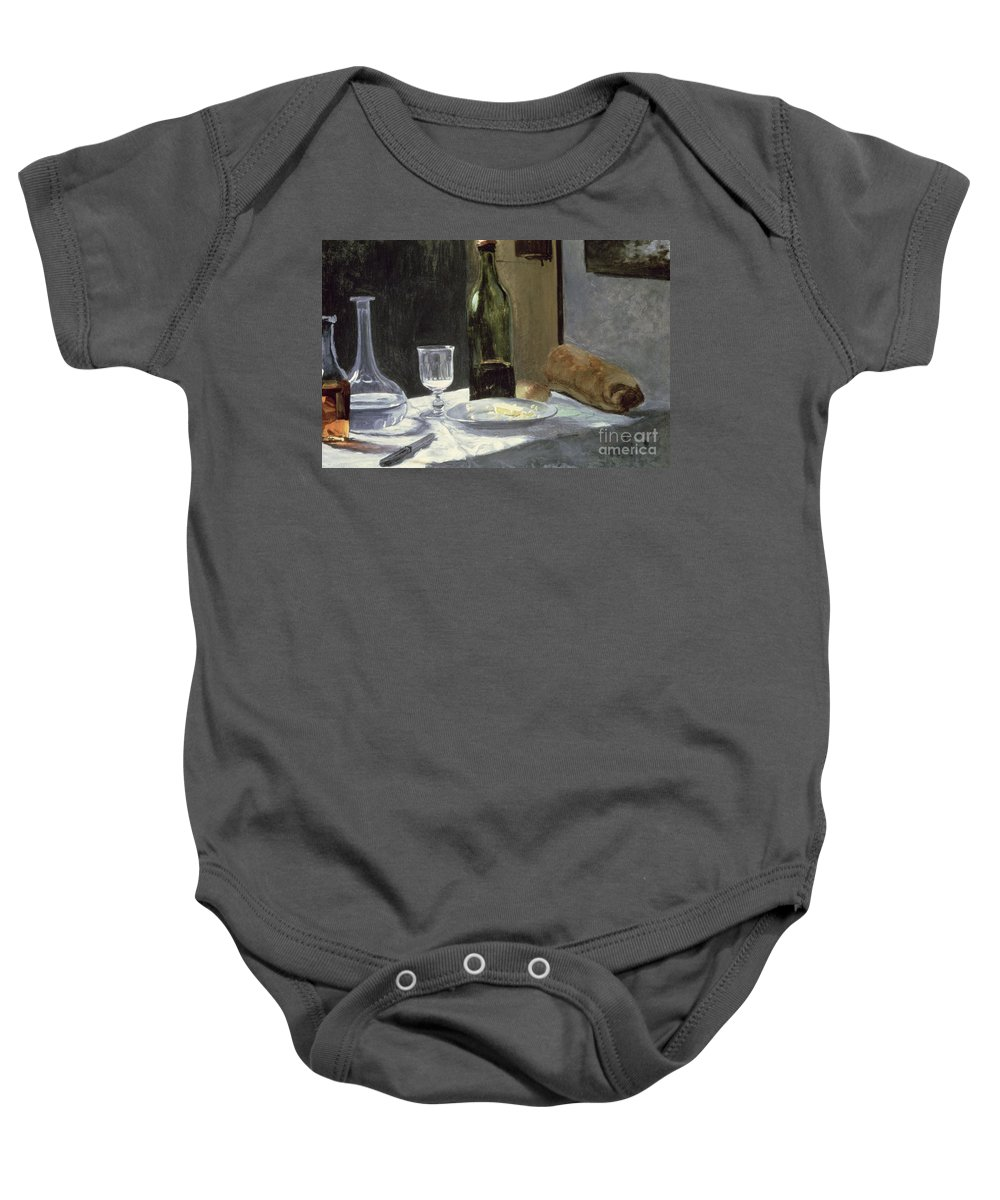 Impressionist Baby Onesie featuring the painting Still Life With Bottles by Claude Monet
