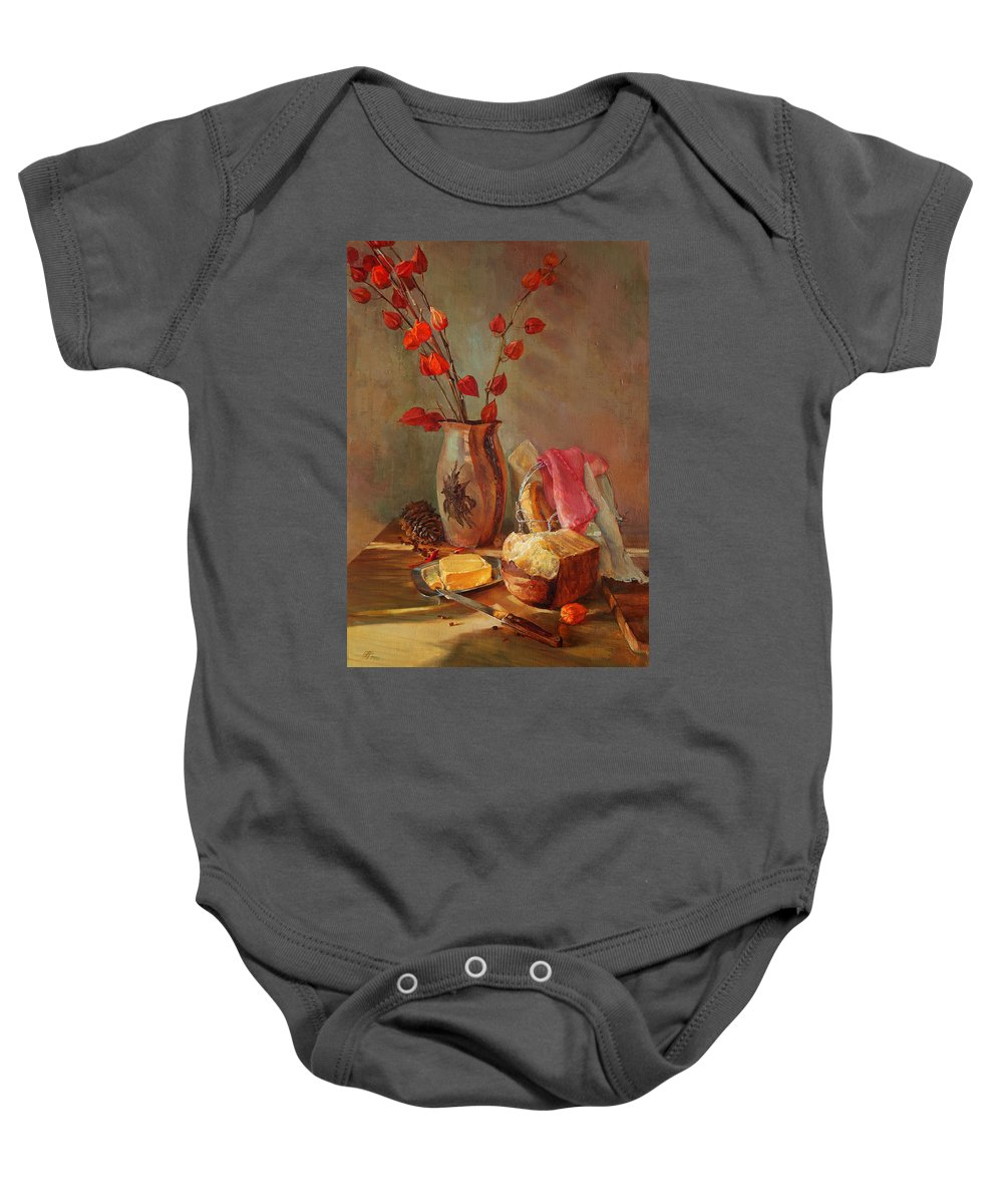Still-life Baby Onesie featuring the painting Still-life With Fresh Bread And A Knife by Galina Gladkaya