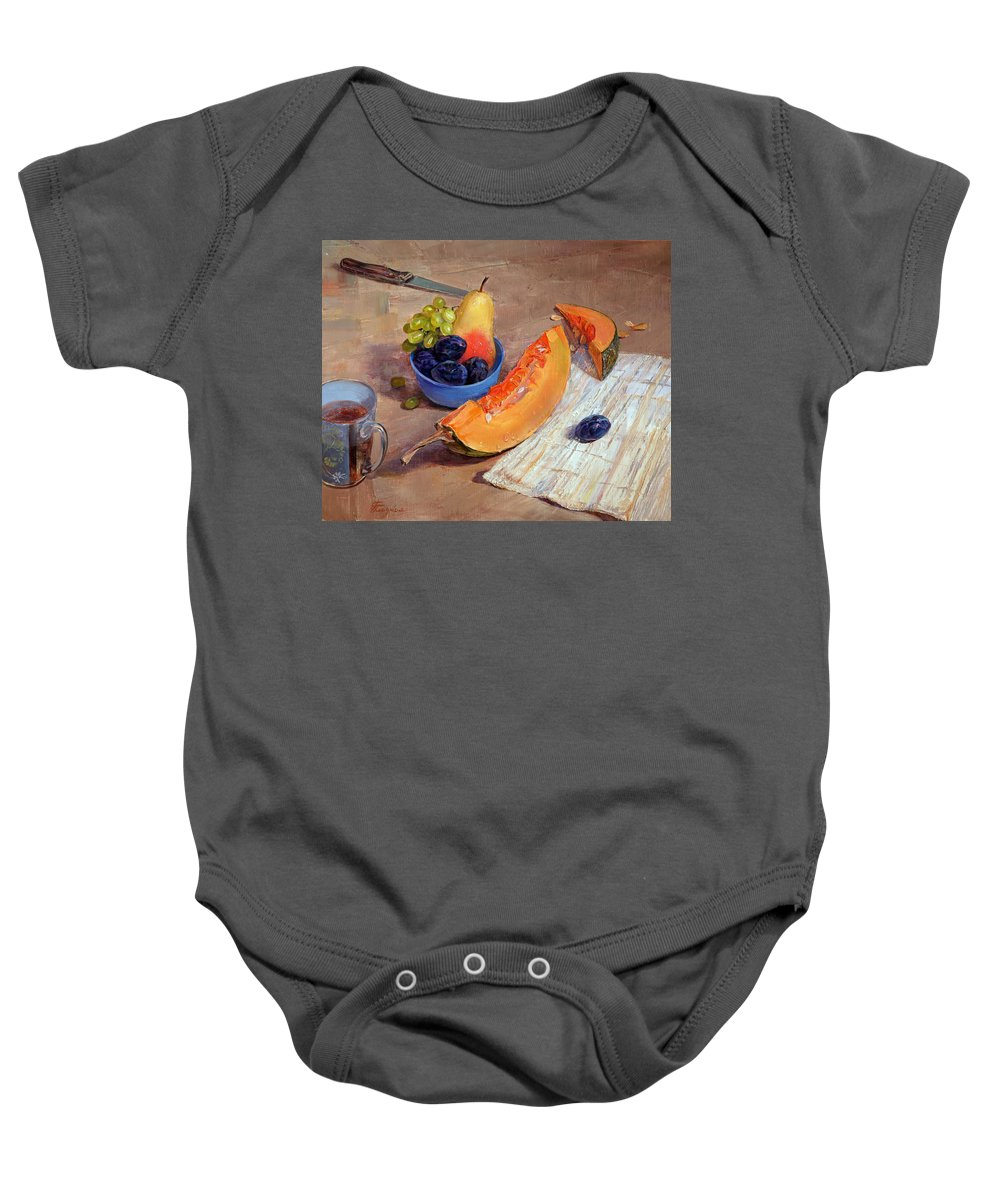 Still Life Baby Onesie featuring the painting Still Life With Pumpkin by Galina Gladkaya