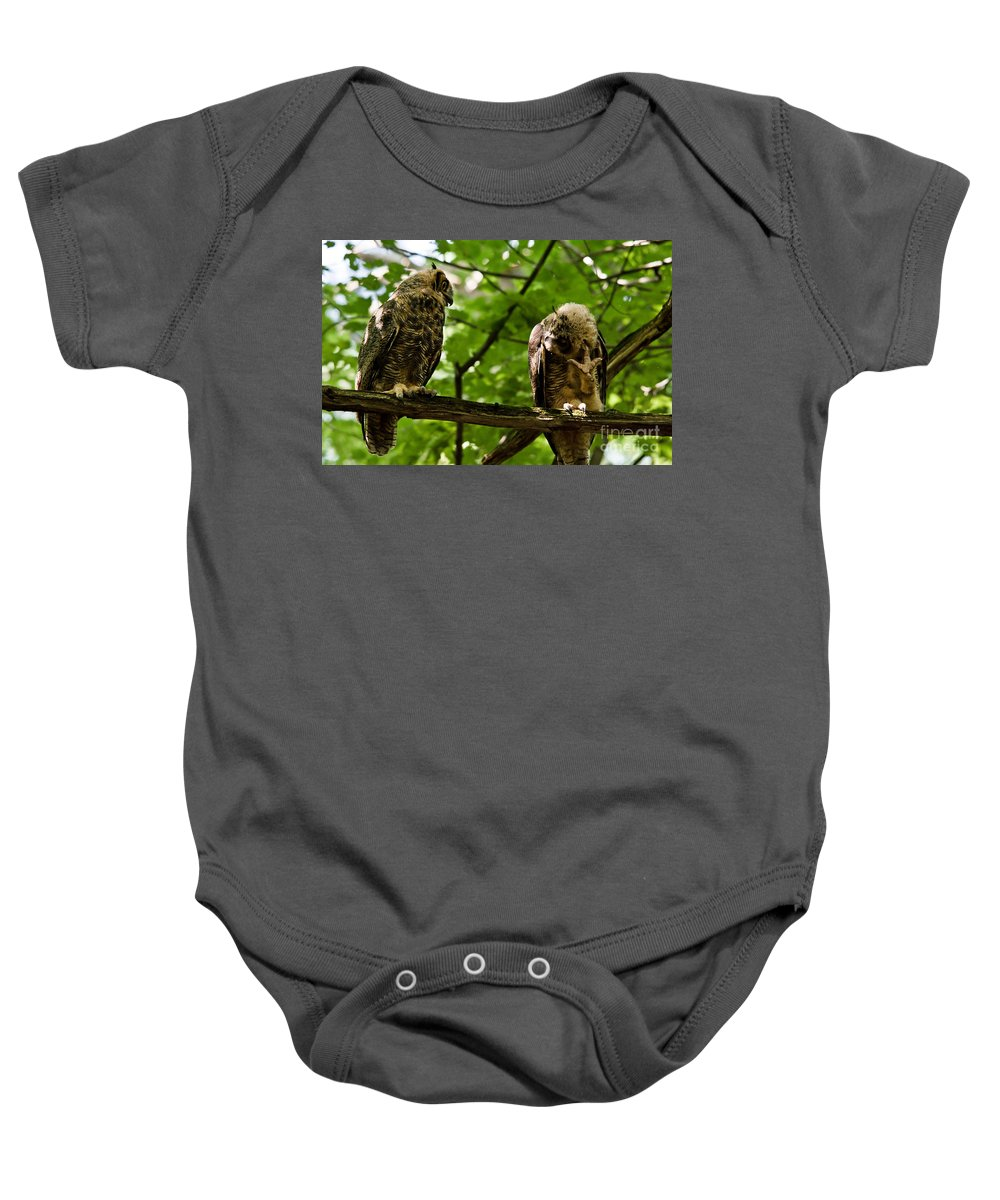 Owlets Baby Onesie featuring the photograph Still Scratching by Cheryl Baxter