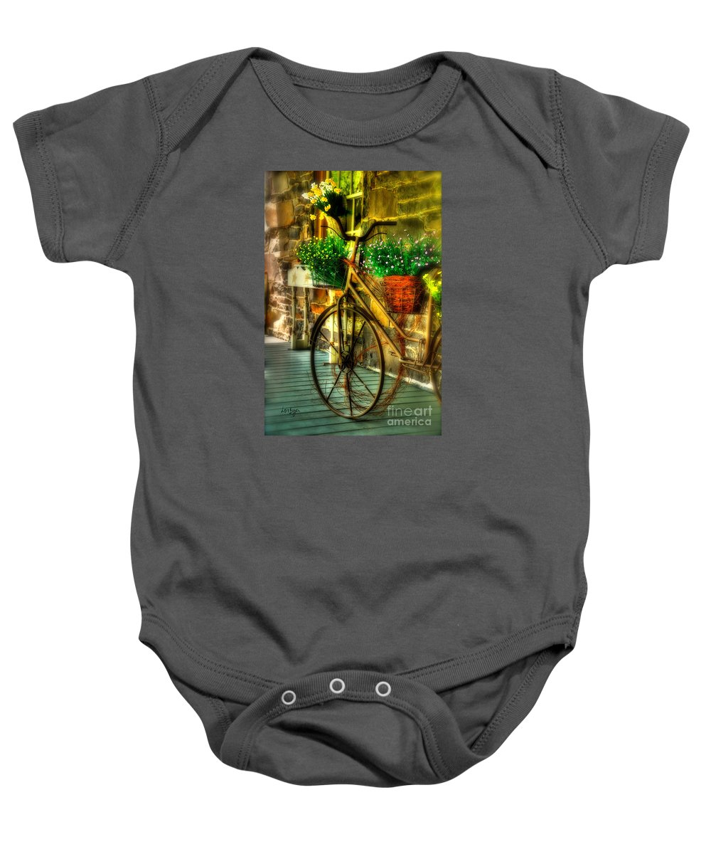 Bike Baby Onesie featuring the photograph Still Useful by Lois Bryan