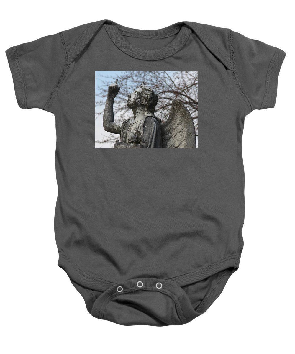 Angel Baby Onesie featuring the photograph Stone Angel by Cassie Peters