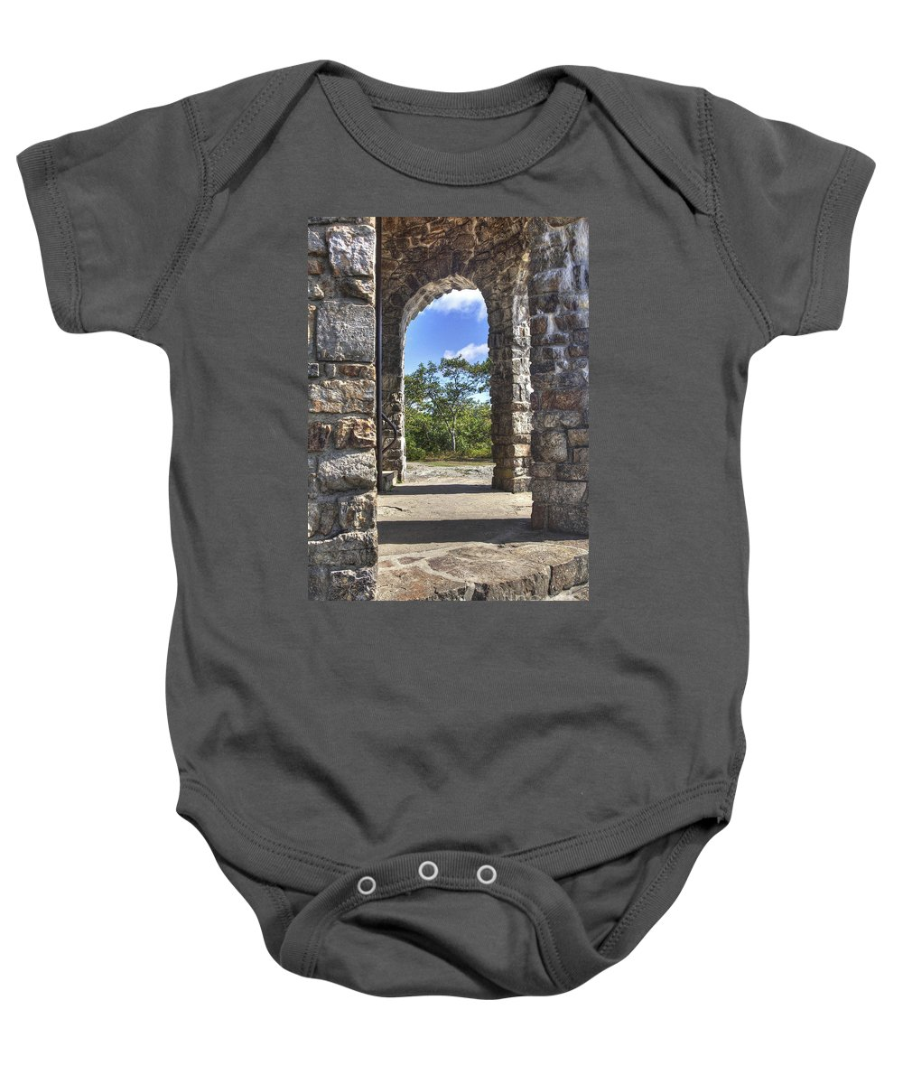 2011 Baby Onesie featuring the photograph Stone Memorial by Larry Braun