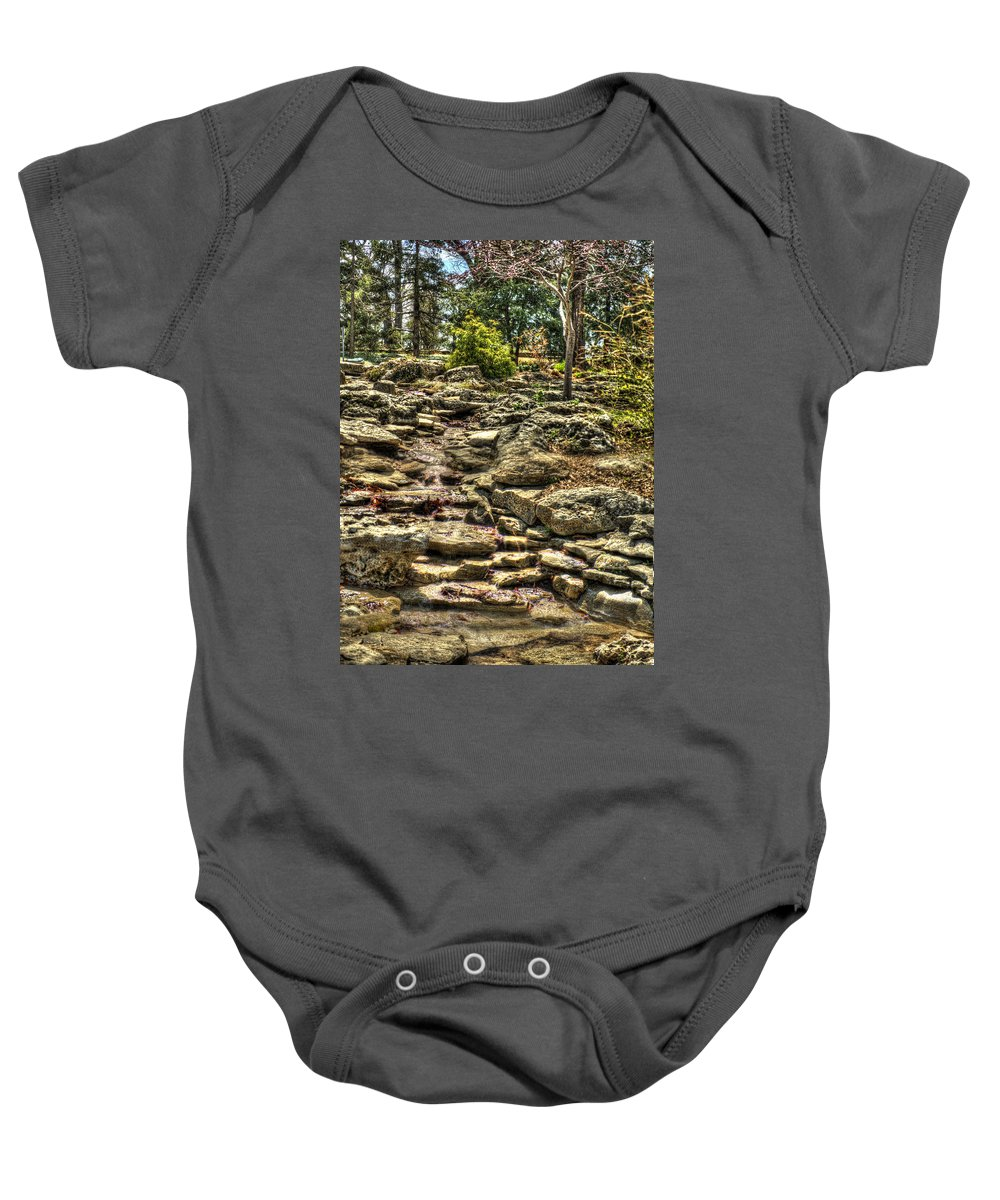 Hdr Baby Onesie featuring the photograph Stone Spring At Woodward Park 1 by John Straton