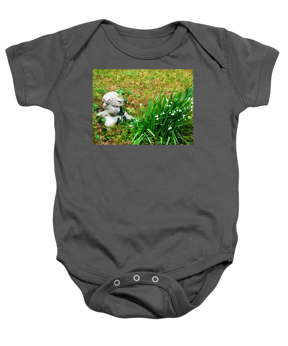 Ancient Baby Onesie featuring the painting Stone Statue by Jeelan Clark