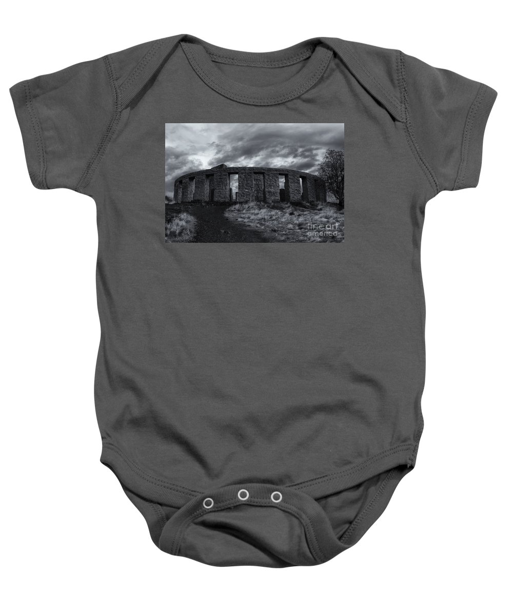 Stonehenge Baby Onesie featuring the photograph Stonehenge Of America by Mike Dawson