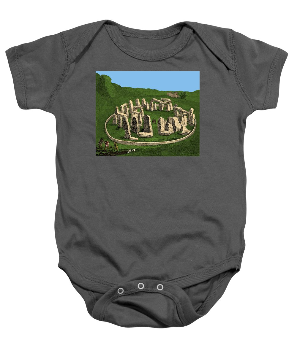 Archeology Baby Onesie featuring the photograph Stonehenge, Prehistoric Monument by British Library