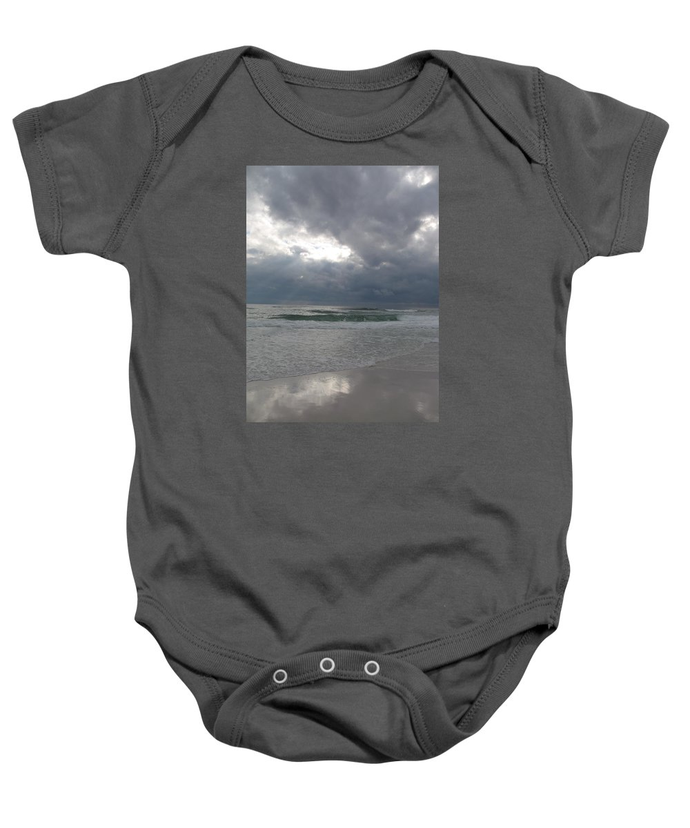 Clouds Baby Onesie featuring the photograph Stormclouds Over The Sea by Christiane Schulze Art And Photography