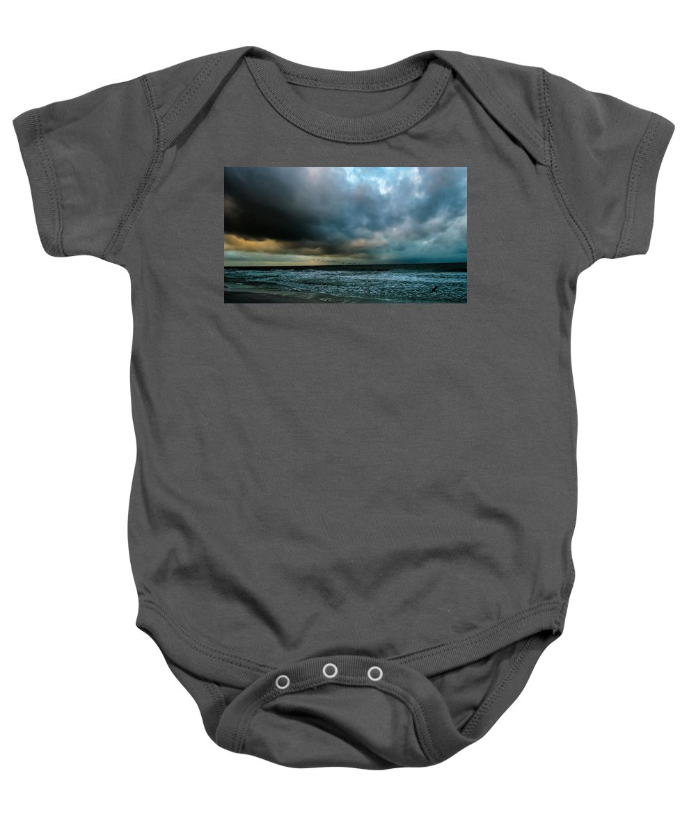 Black Skimmers Baby Onesie featuring the photograph Stormy Monday by Along The Trail