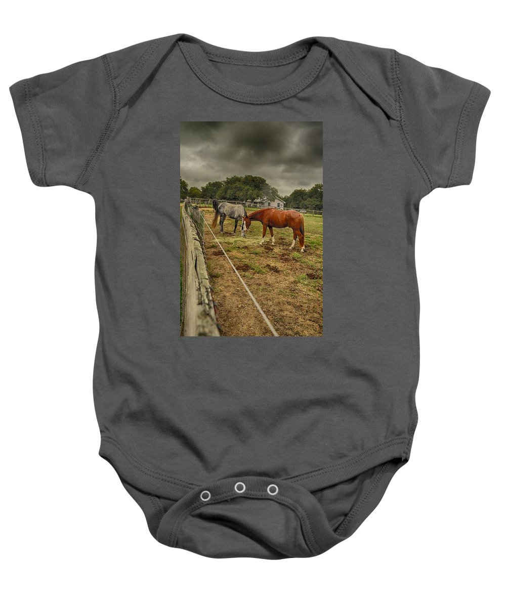 Horse Photograph Baby Onesie featuring the photograph Stormy Skies by Kristina Deane