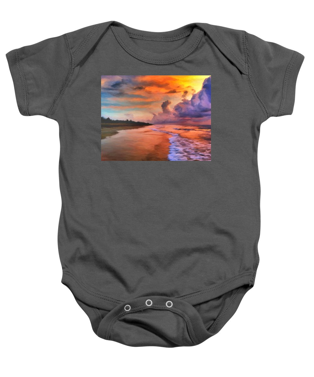 Sunrise Baby Onesie featuring the painting Stormy Skies by Michael Pickett