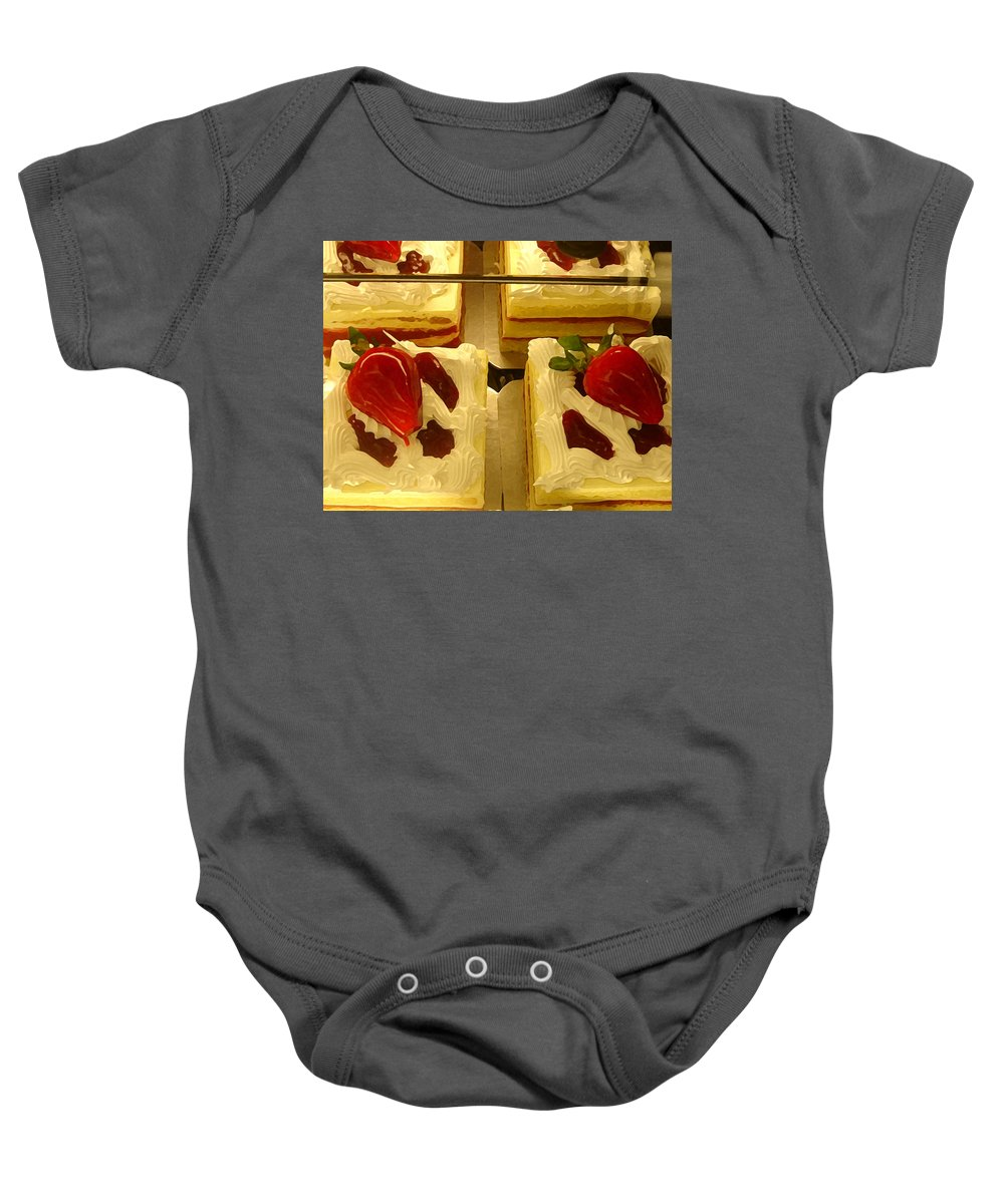 Kitchen Baby Onesie featuring the painting Strawberry Cakes by Amy Vangsgard
