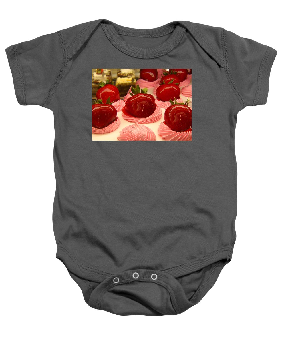 Food Baby Onesie featuring the painting Strawberry Mousse by Amy Vangsgard