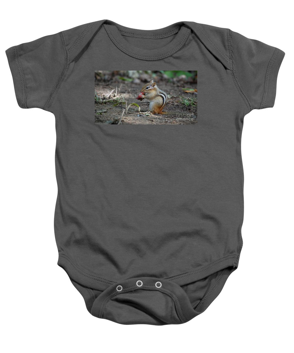 Animal Baby Onesie featuring the photograph Strawberry Thief by Bianca Nadeau