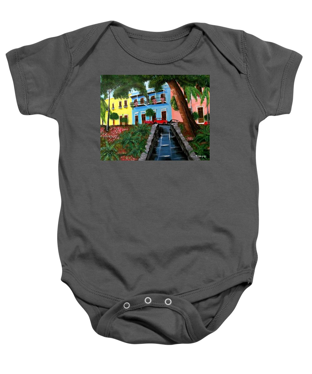 Old San Juan Baby Onesie featuring the painting Street Hill In Old San Juan by Luis F Rodriguez