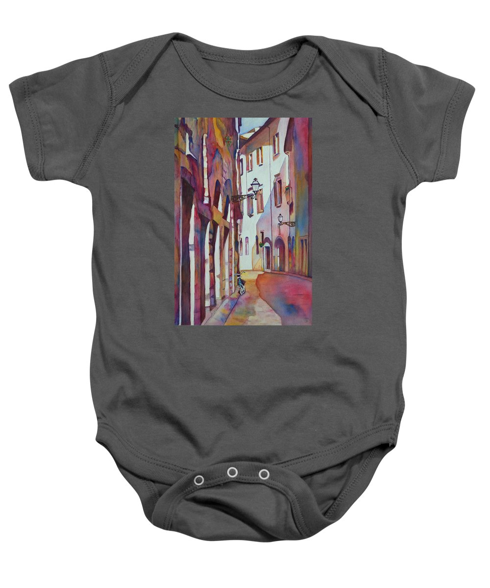 Italy Baby Onesie featuring the painting Street Scene Italy by Phyllis Brady