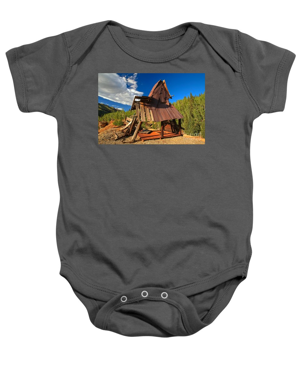 Yankee Girl Mine Area Baby Onesie featuring the photograph Struggling To Stand by Adam Jewell