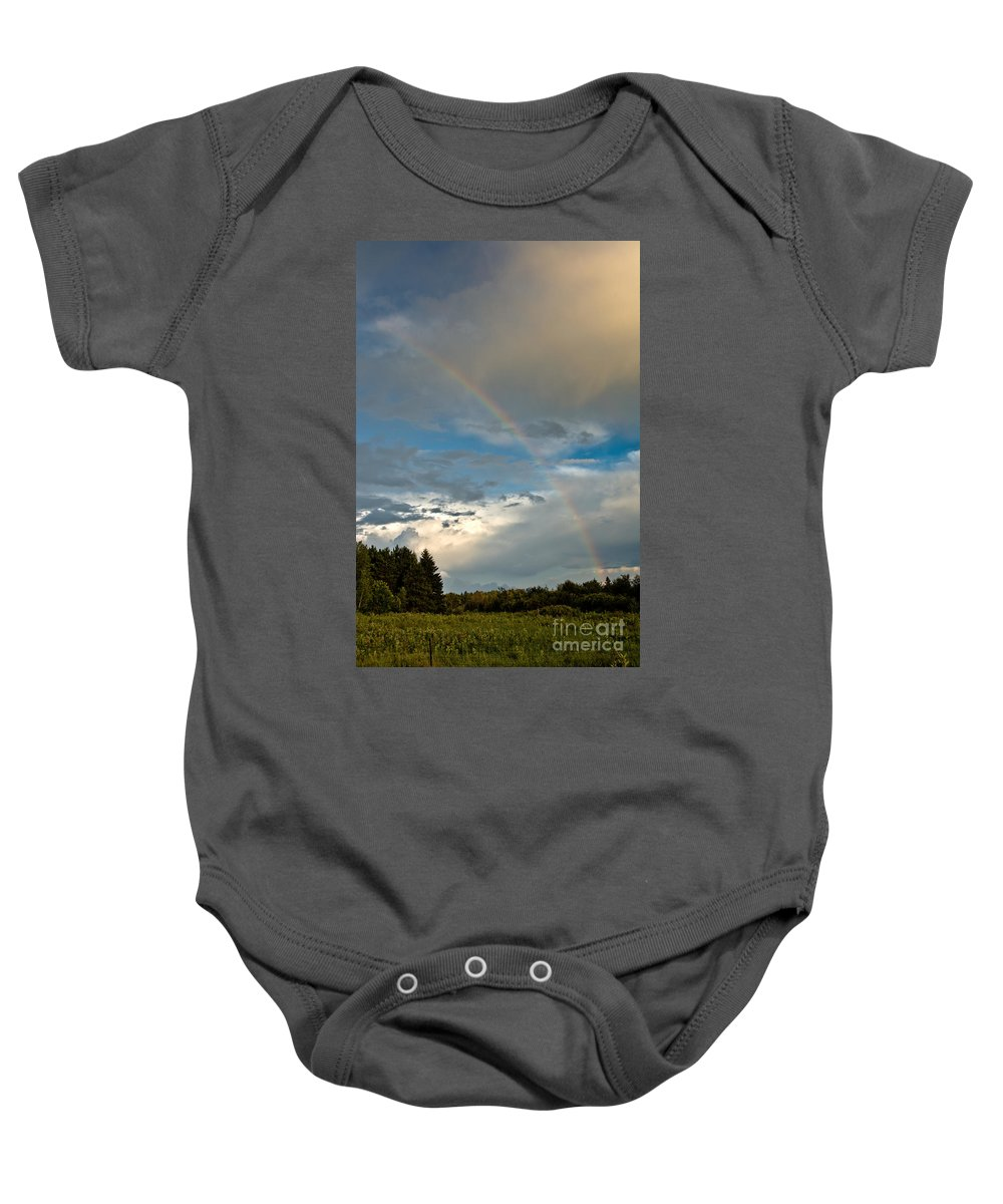 Rainbow Baby Onesie featuring the photograph Stunning Rainbow by Cheryl Baxter