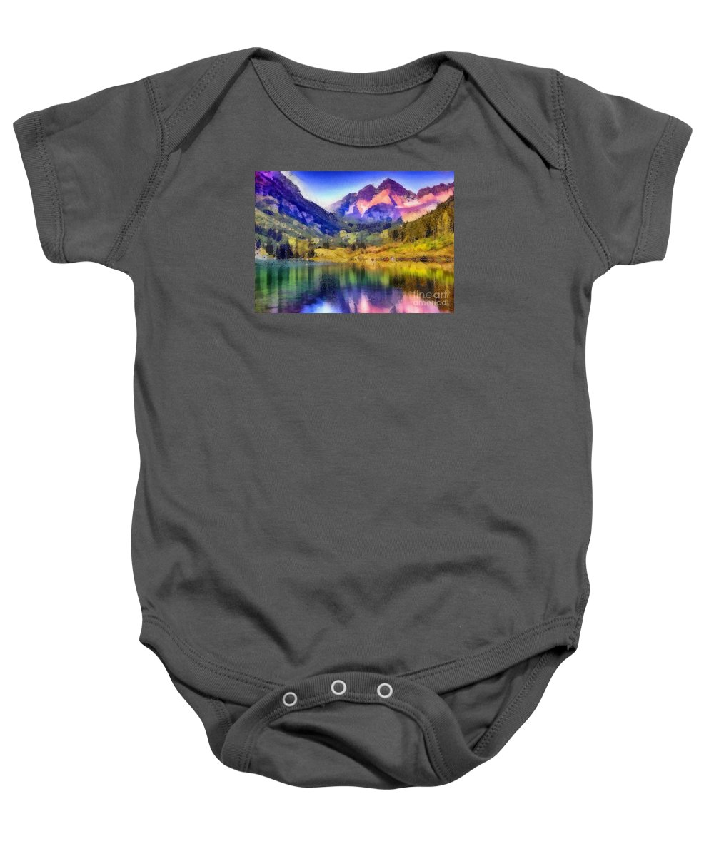 Stunning Reflections Baby Onesie featuring the painting Stunning Reflections by Catherine Lott
