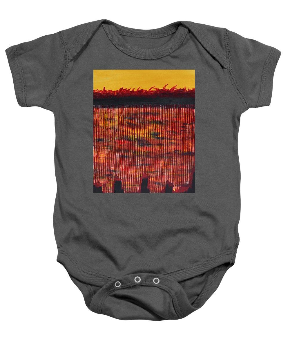 Subterraeam Baby Onesie featuring the painting Subterranean Skyline by James Pinkerton