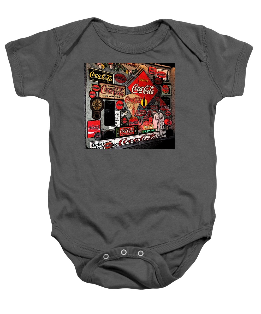 Digital Art Baby Onesie featuring the photograph Sumi-e Styled Coca Cola Signs by Marian Bell