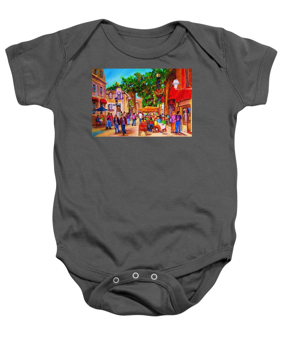 Summer Cafes Montreal Street Scenes Baby Onesie featuring the painting Summer Cafes by Carole Spandau