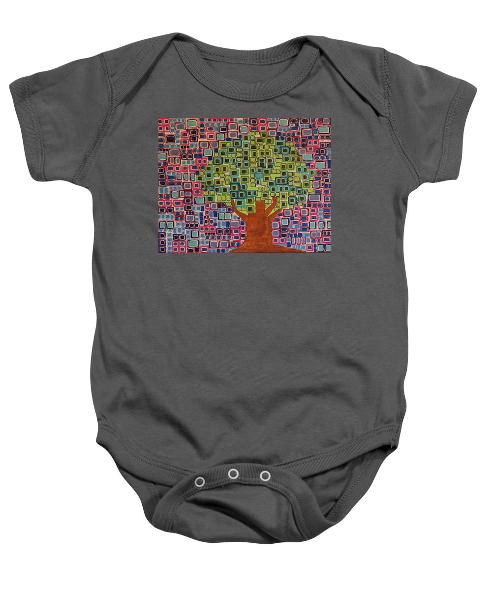 Tree Baby Onesie featuring the painting Summer Elm by Donna Howard